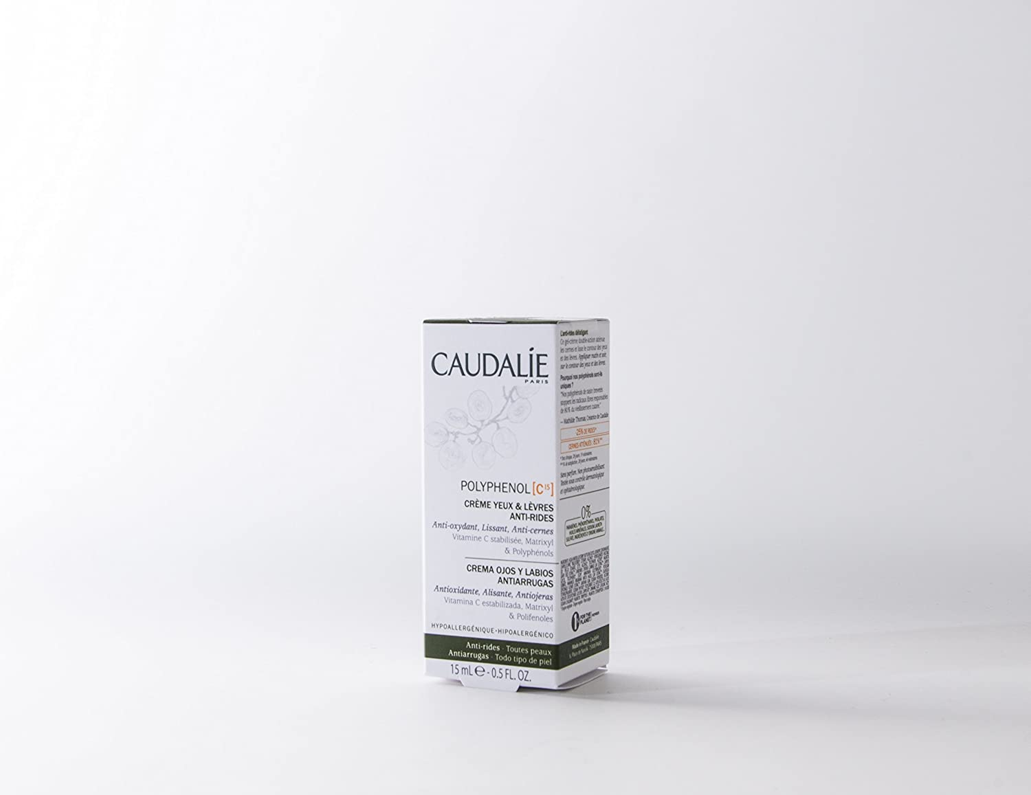Amazon.com : Caudalie Polyphenol C15 Anti-wrinkle Eye And Lip Cream 15ml : Beauty