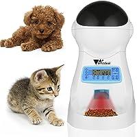 Amzdeal 3.5L Comedero Automático para Gatos y Perros - Grabación de Voz y Música, Alimentador Mascotas y Dispensador de Comida Programable 4 Veces Cada Día