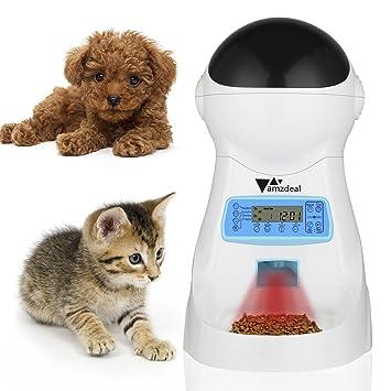 Amzdeal 3.5L Comedero Automático para Gatos y Perros - Grabación de Voz y Música, Alimentador Mascotas y Dispensador de Comida Programable 4 Veces Cada Día: ...