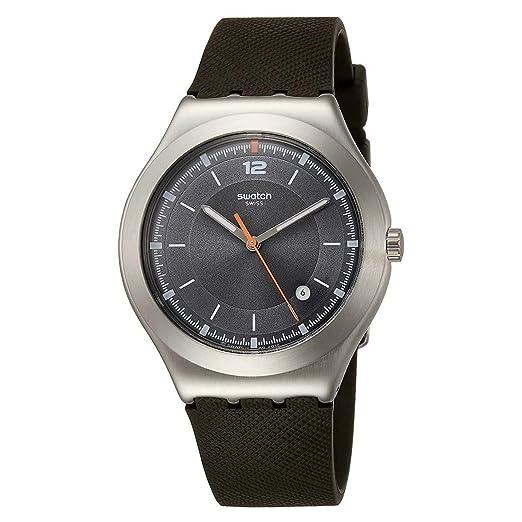 Swatch ironía tic-green gris Dial silicona correa Unisex Reloj yws425: Amazon.es: Relojes
