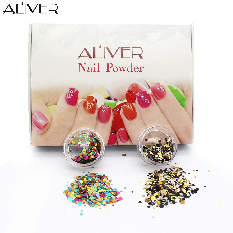 Aliver 12 Farben Nagel Diamant Sequins UV Gel DIY Glitter Dekoration ...