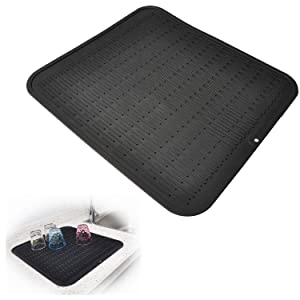"""Dish Drying Mat, Silicone Drying Mats for Dishes Glasses, Kitchen Black Rubber Drainer Sink Mat for Counter – Waterproof, Heat Resistant Pad / 17.6"""" x 15.8"""" by Kindga"""