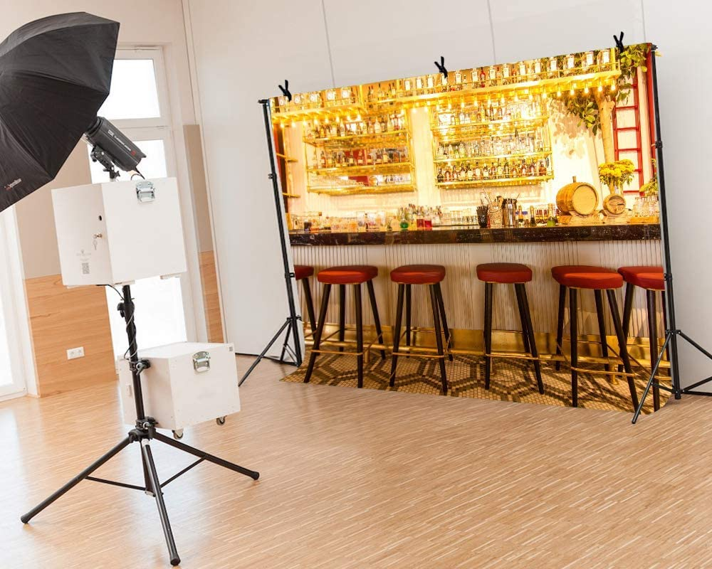 5x7ft Vinyl Bar Background Bar Golden Light All Kinds of Wine Stools for Party Photography Adult Photo Props Film Photography Background LYLS1016 for Party Decoration Birthday YouTube Videos School Ph