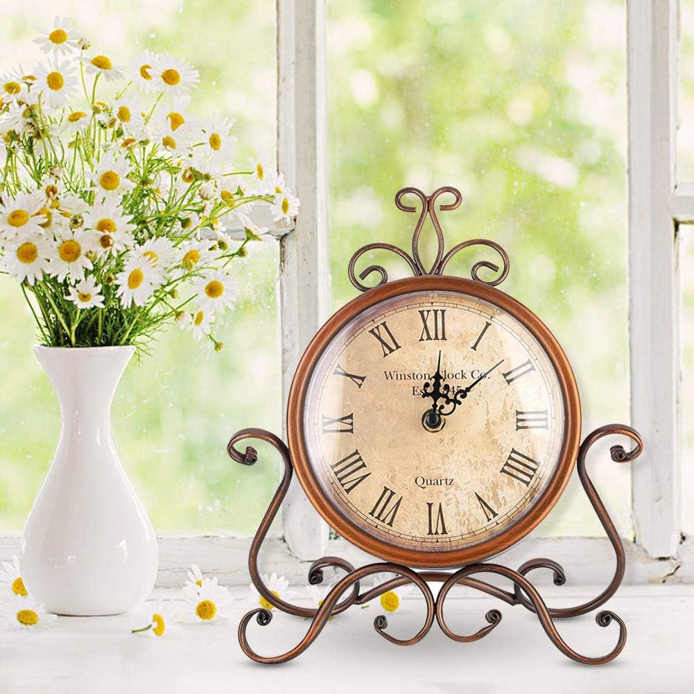 AUNMAS Hierro Arte Escritorio Reloj Hogar Retro Vintage Reloj Mute Reloj de cabecera Antiguo Craft Escritorio Ornamento Decoración del Hogar