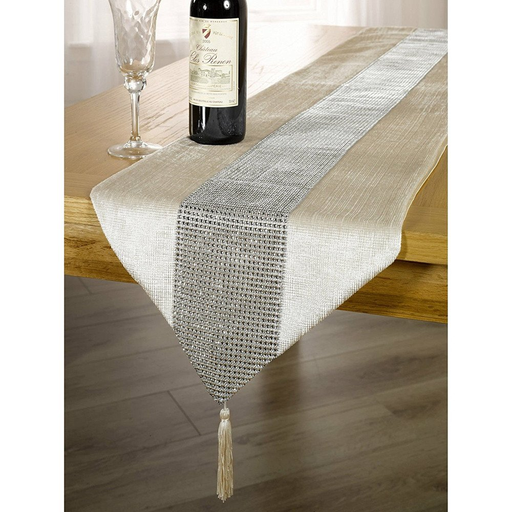 OZXCHIXU TM 13inch x 72inch Table Runner with Diamante Strip and Tassels (Beige)