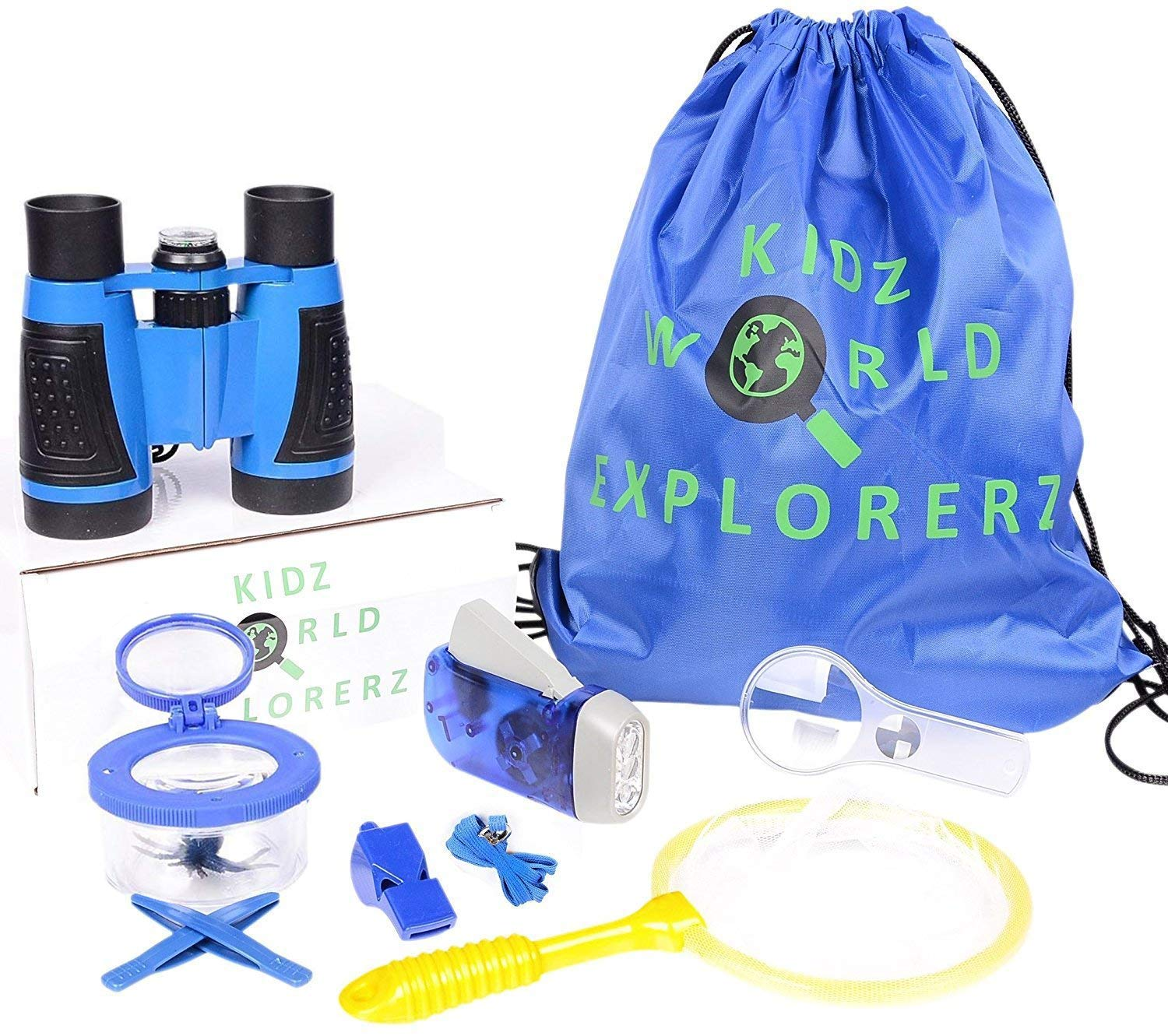 Binoculars For Kids By Olivia & Aiden - Outdoor Exploration Kit - Kids Binoculars, Compass, Hand Crank Flashlight, Whistle, Magnifying Glass, Insect Viewer Cup, Tweezers, and Backpack