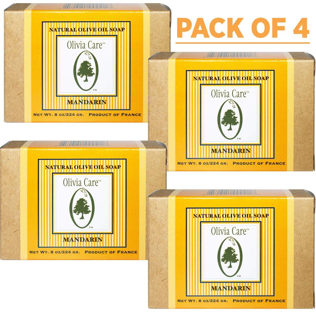 Olivia Care Premium Mandarin Bath & Body Bar Soap Organic, Vegan & NaturalOlive OilRepairs, Hydrates, Moisturizes & Deep Cleans Vitamin C Good for Sensitive Dry SkinMade in USA 8 OZ – (4 PACK)