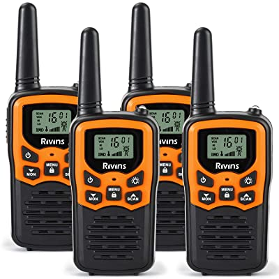 Rivins RV-7 Walkie Talkies for Adults Long Range 4 Pack 2-Way Radios Up to 5 Miles Range in Open Field 22 Channel FRS/GMRS Walkie Talkies UHF Handheld Walky Talky (Black/Orange): Car Electronics