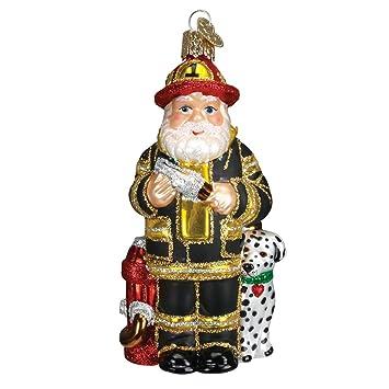 Amazoncom Old World Christmas Fireman Santa Glass Blown Ornament
