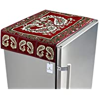 Kuber Industriestm Red Cotton Fridge Top Cover (Peacock Design) (Fc09)