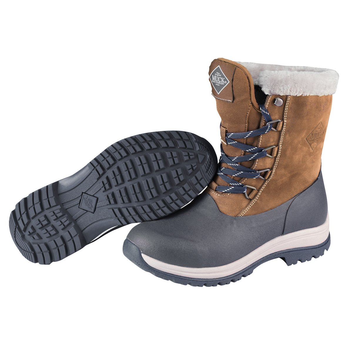 Muck Arctic Après Mid-Height Lace-up Rubber Women's Winter Boots B01GK94HEE 10 B(M) US|Otter, Navy/Fog