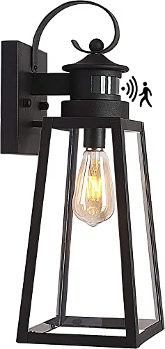 16'' Motion Sensor Patio Wall Light Fixture,Untrammelife Large Dusk to Dawn Outdoor Lighting Sconce,Industrial Tempered Glass Sanded Black Exterior Wall Lamp Lantern