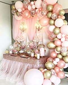 126 Pieces Rose Gold Balloons Birthday Party Decorations for Women, Rose Gold Balloon Garland Arch Kit, Rose Gold Pink and Gold Balloons for Baby Shower Graduation Bachelorette Globos Para Fiestas