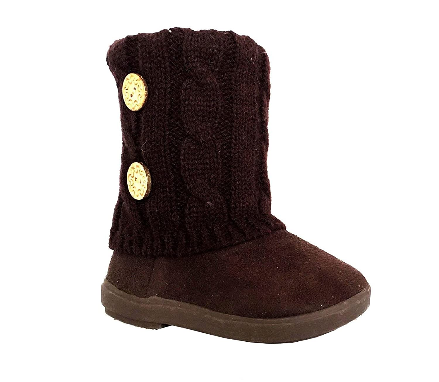 Kids Boots Toddler Girls Cute 2 Buttons Faux Fur Suede Knitting Shoe | 285 SB-285