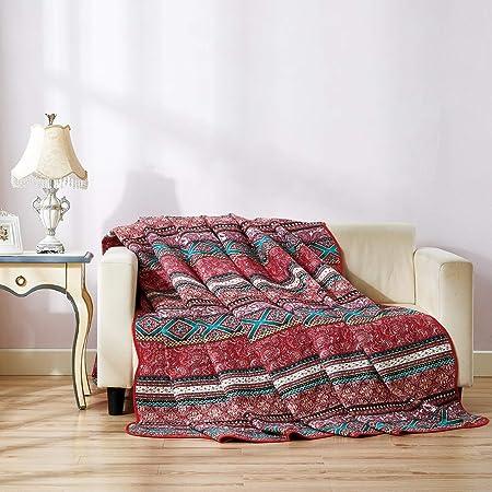 Qucover Cubrecama para Cama 135/cama Individual,200x200cm,Colcha Verano bouti sofá Cubrecanapes,Ropa de Cama,Manta de 100% algodón: Amazon.es: Hogar