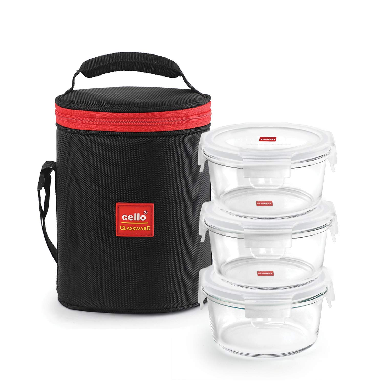 Cello Seal O Fresh Borosilicate Microvable Glass Lunch Box, 400ml, 3-Pieces, Clear Rs 749 at Amazon