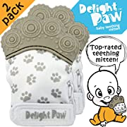 Delight Paw | Baby Teething Mitten 2 Pack | Mom Designed | Self Soothing Pain Relief | Hygienic Travel Bag | Mittens BPA Free | Like Munch Mitt | Baby Boy Baby Girl | Babies 3-12 Months | Gleeful Gray