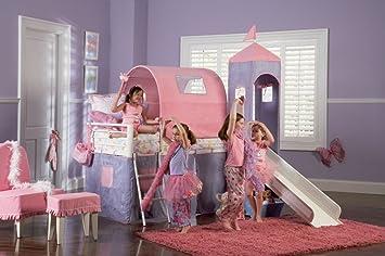 Amazon Com Princess Castle Twin Size Tent Loft Bed With Slide