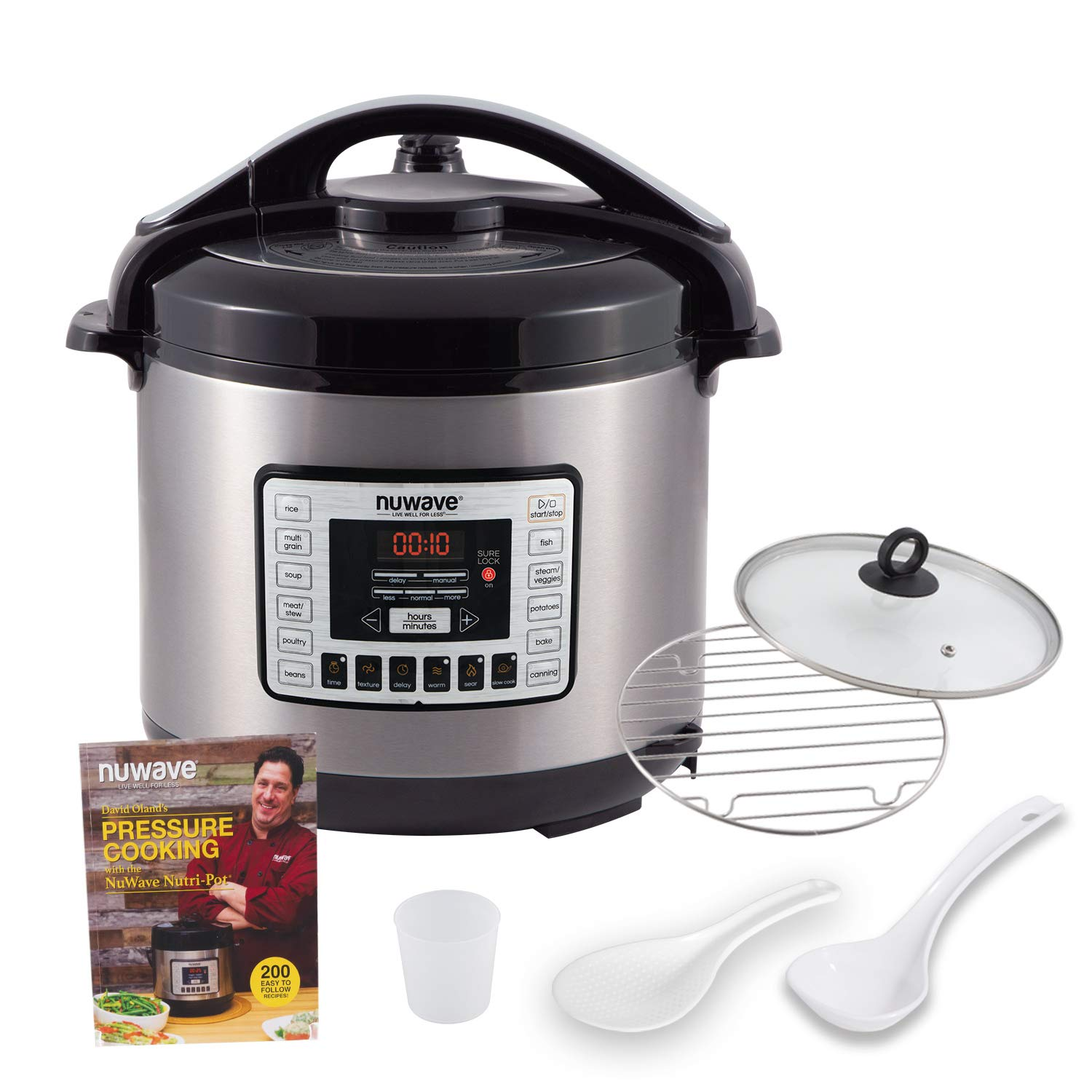 NUWAVE NUTRI-POT 8-Quart DIGITAL PRESSURE COOKER with Sure-Lock Safety System; Dishwasher-Safe Non-Stick Inner Pot; Glass Lid for Slow Cooking; Cooking Rack, 11 Pre-Programmed Presets; Detachable Pressure Pot Lid for Easy Cleaning; and Chef Tested 200 Recipe Pressure Cooking Cookbook. (8-Quart)