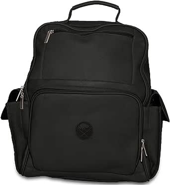 NHL Black Leather Large Computer Backpack