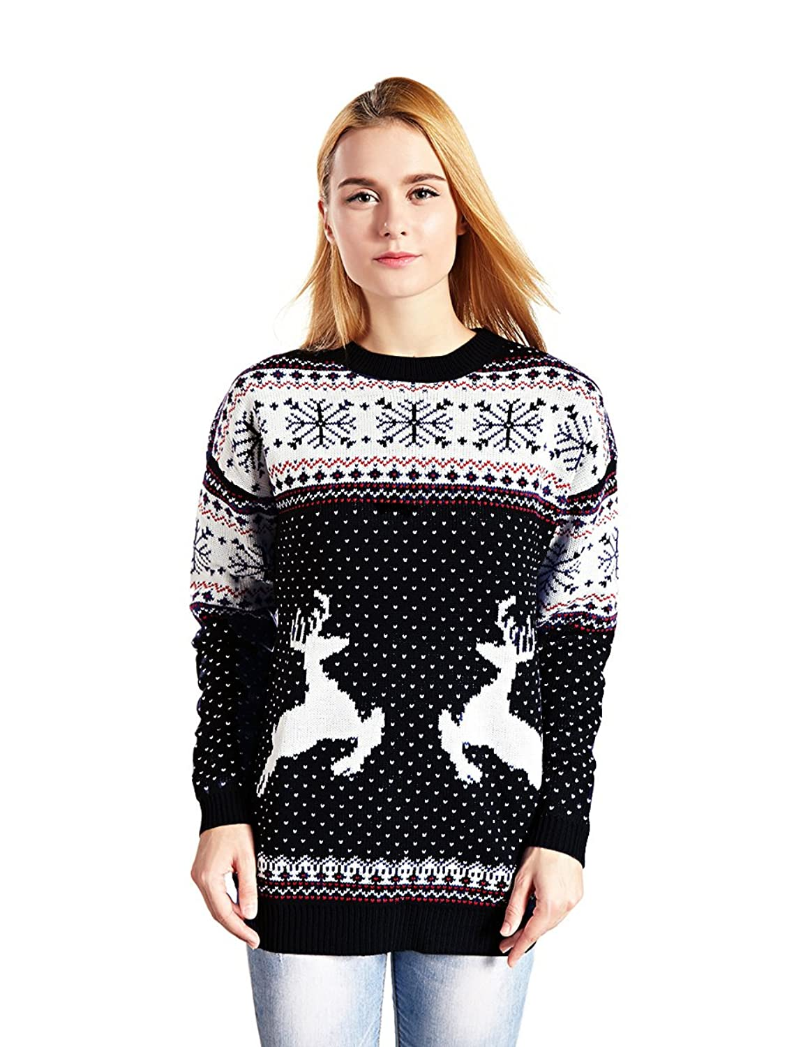 V28 Women's Christmas Reindeer Snowflakes Sweater Pullover at ...