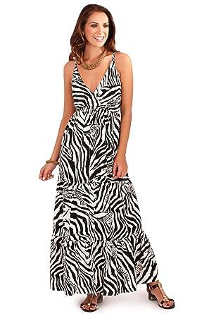 Wunderschön Damen Zebra Druck Riemchen Maxi Kleid mit Crossover ...