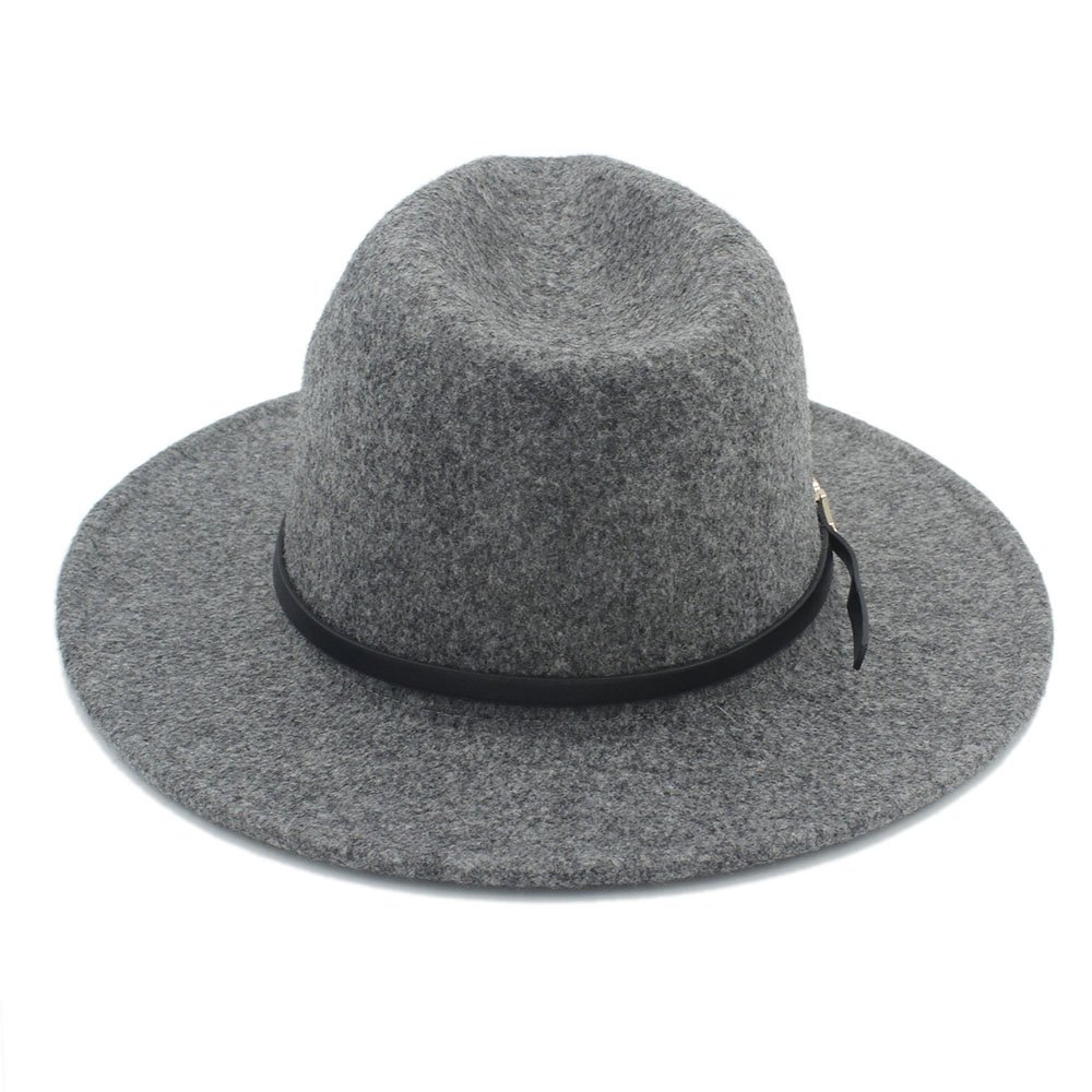 Sunny/&Baby Womens Fedora Hat Wool Wide Brim Top Cap Unisex with Thin Leather Belt Decor Fashion