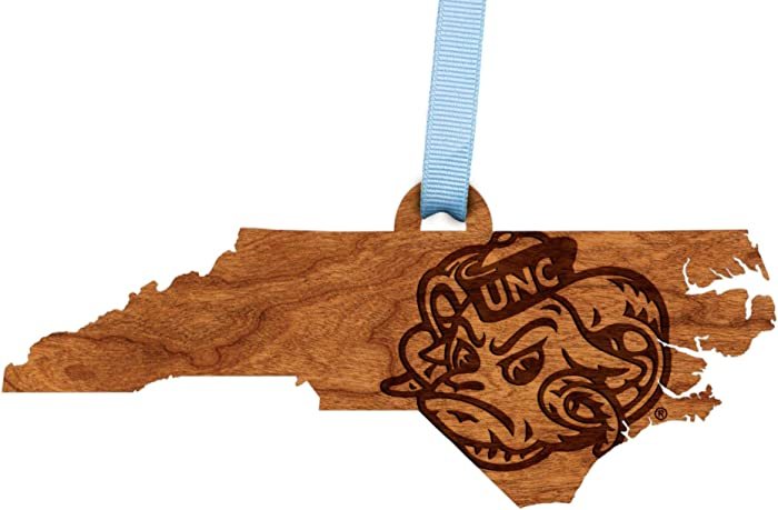 LazerEdge NCAA Wooden Ornament (University of North Carolina Chapel Hill (UNC) - State Map with Rameses)