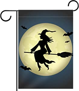 Witch on A Broomstick Design Seasonal Garden Flag Double Sided Spring Summer Yard Outdoor Decorative Holidays Flags Weather Resistant 12 X 18 Inch