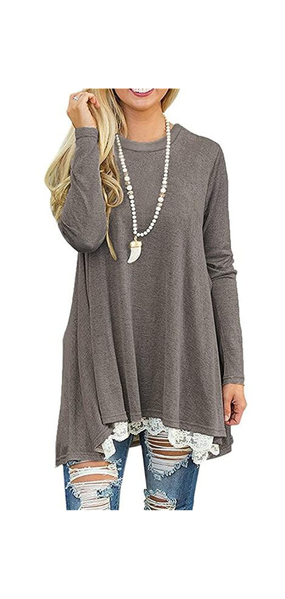 Women's Lace Long Sleeve Tops Casual Round Neck Top