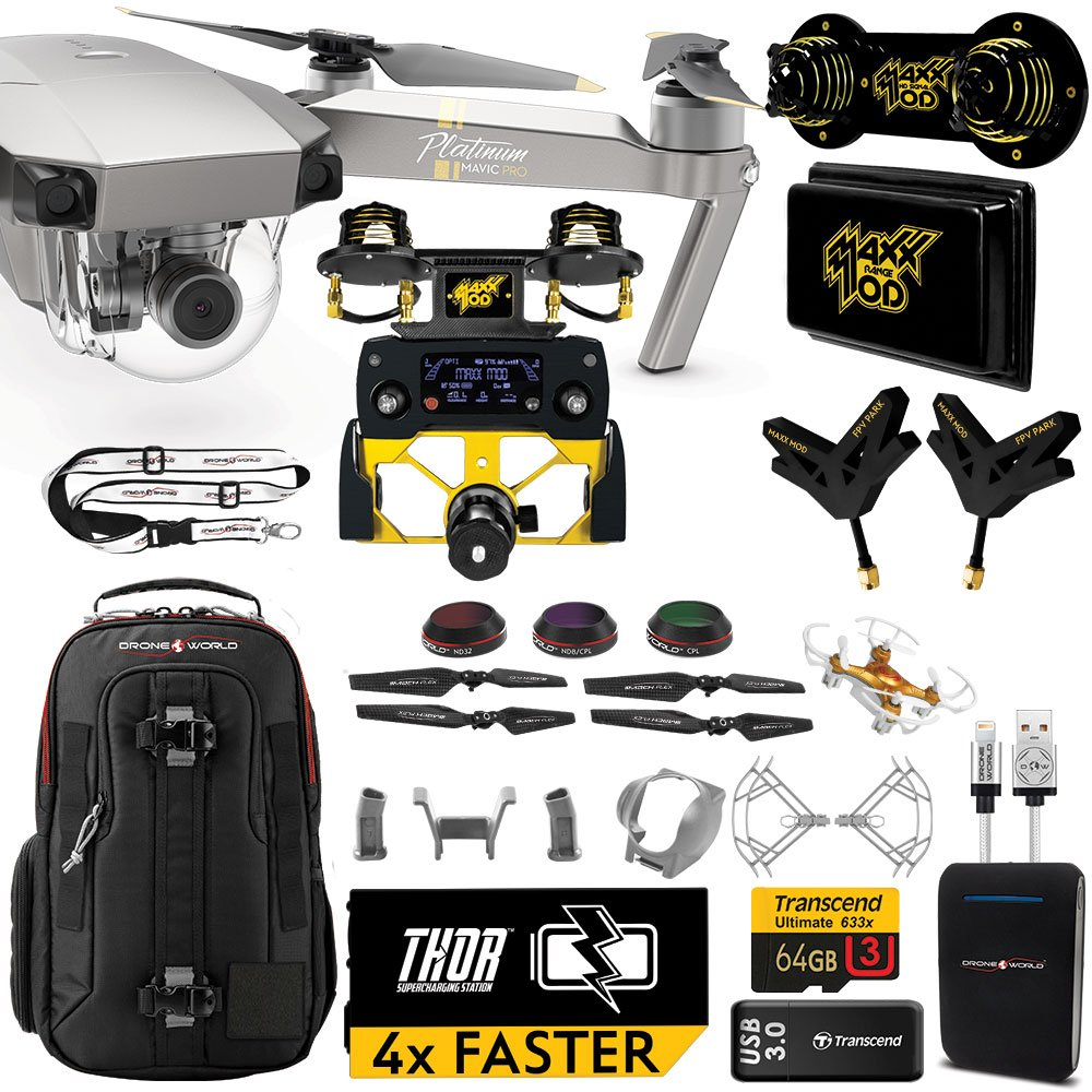 DJI Mavic PRO Platinum MaXX Mod Long Range Kit w/ Backpack, Custom Bracket + Mount, Sunshade, Battery + Thor Charger, Lens Filters & More by Drone World