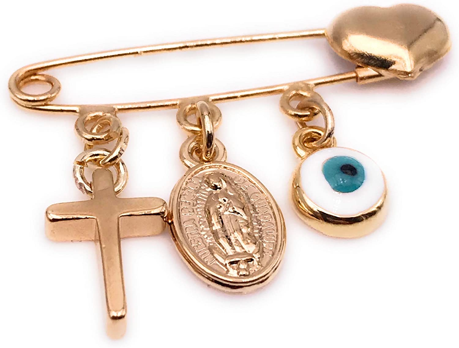 LESLIE BOULES Gold Plated Baby Brooch Pin for New Born Religious Jewelry