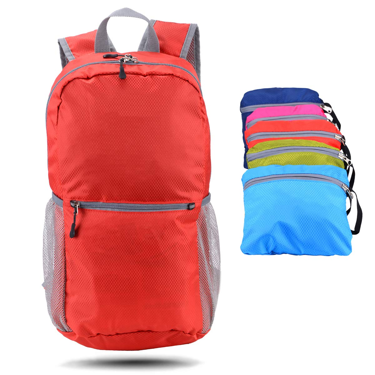 Lightweight Packable Backpack Water Resistant,Small Backpack Handy Foldable Camping Outdoor Backpack Little Bag Cali America Hiking Daypack 20L Red