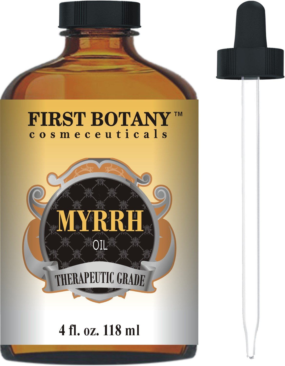 Myrrh Essential Oil 4 fl. oz. With a Glass Dropper - 100% Pure and Natural with Premium Quality & Therapeutic Grade - Ideal for Aromatherapy, Massages and Maintaining Healthy Skin by First Botany Cosmeceuticals B01779CIVA