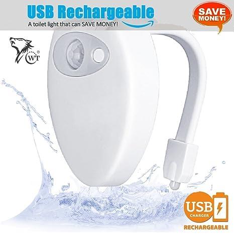 WT USB Batería para inodoro luz con sensor de movimiento resistente al agua diseño, 8