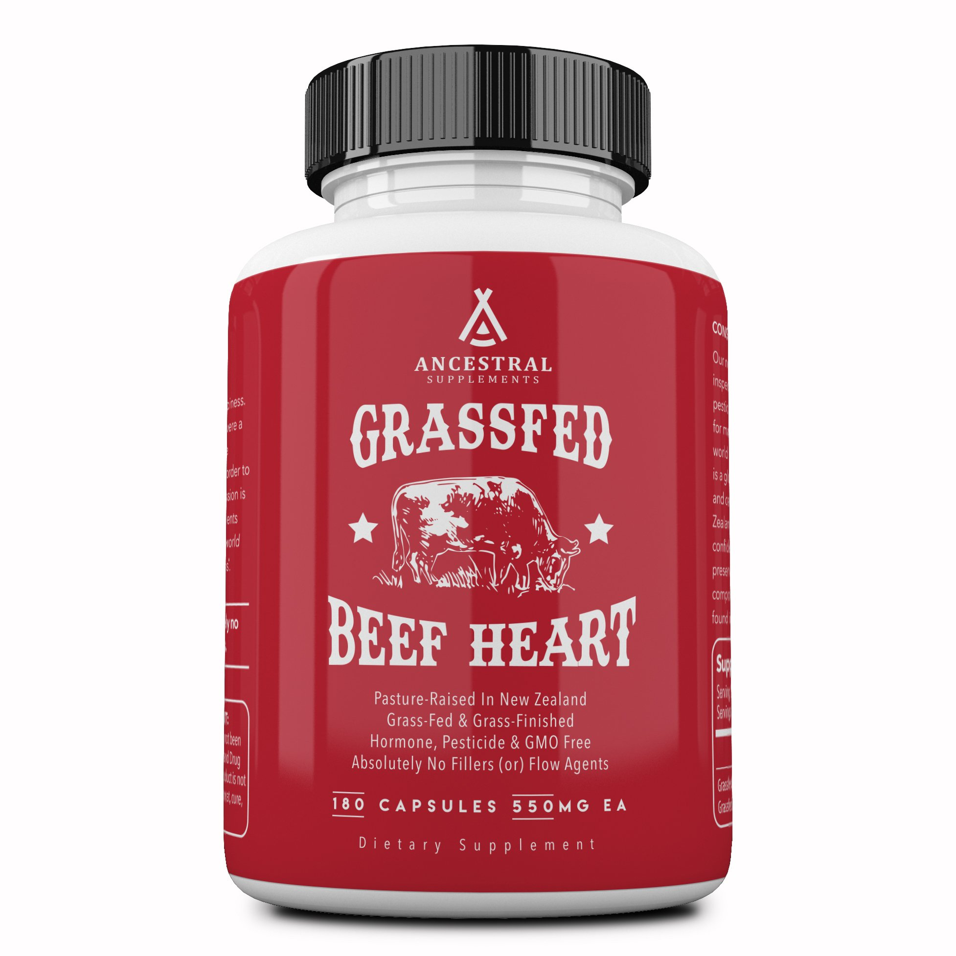 Ancestral Supplements Grass Fed Beef Heart (Desiccated) — Natural CoQ10, Supports Heart, Mitochondrial & Blood Pressure Health (180 capsules)