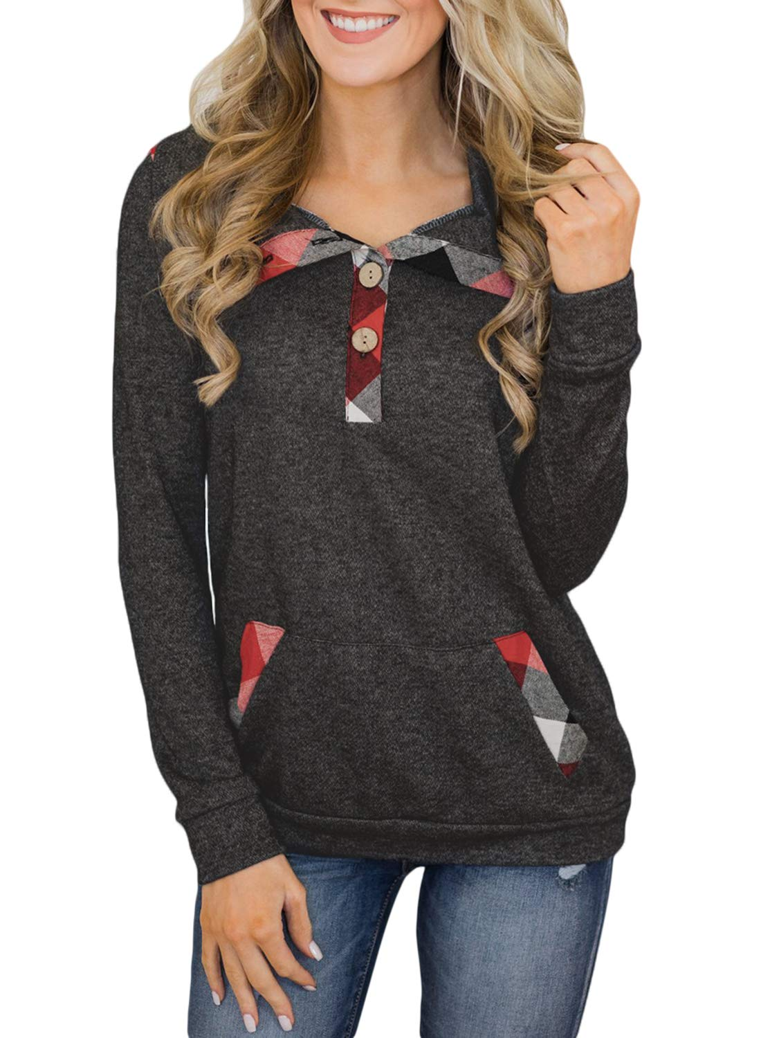 Aleumdr Winter Sweatshirt for Women Juniors Plus Size Plaid Long Sleeve Button Neck Pullover Tops with Pockets Gray Medium 8 10 by Aleumdr