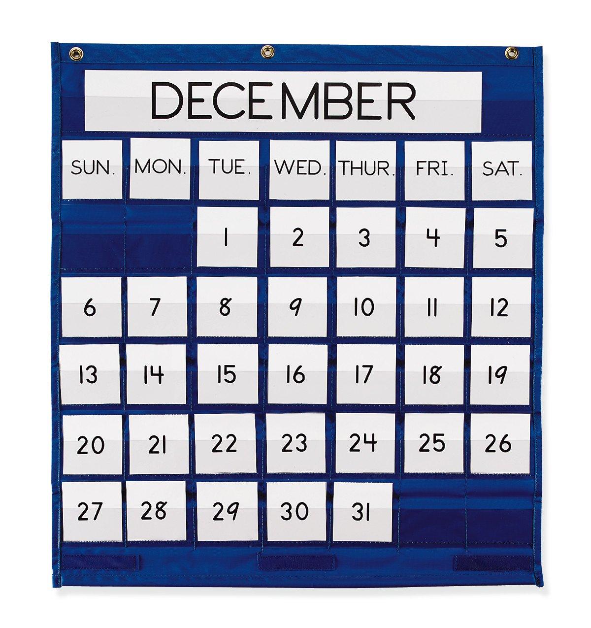 Pacon Pocket Chart, Monthly Calendar, Blue, 25'' x 28'', 1 Chart