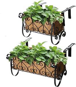 MorTime Iron Hanging Flower Rack Basket Shelf with Hooks, Railing Flower Pots Holder Black Metal Decorative Railing Shelf for Outdoor Garden Balcony Fence Patio