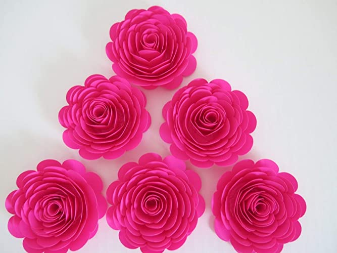 Amazon Fuchsia Paper Flowers 3 Hot Pink Roses Set Of 6 Girl