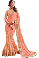 Purvi Fashion Women's Georgette Saree With Blouse Piece (21069_001_Peach)