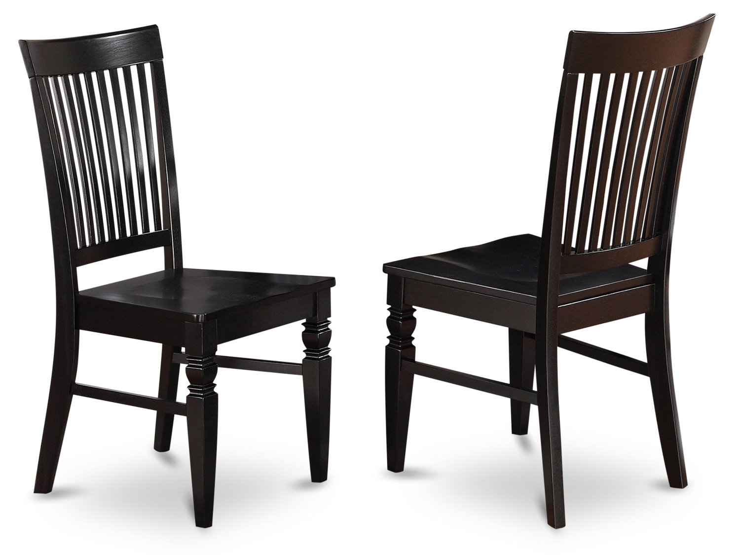 Amazon com east west furniture wec blk w wood seat dining chair set with slatted back black finish set of 2 kitchen dining
