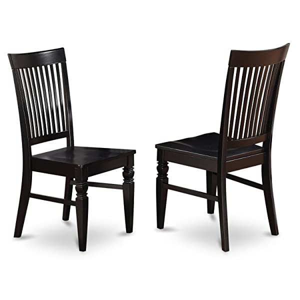 East West Furniture WEC-BLK-W Wood Seat Dining Chair Set with Slatted Back, Black Finish, Set of 2