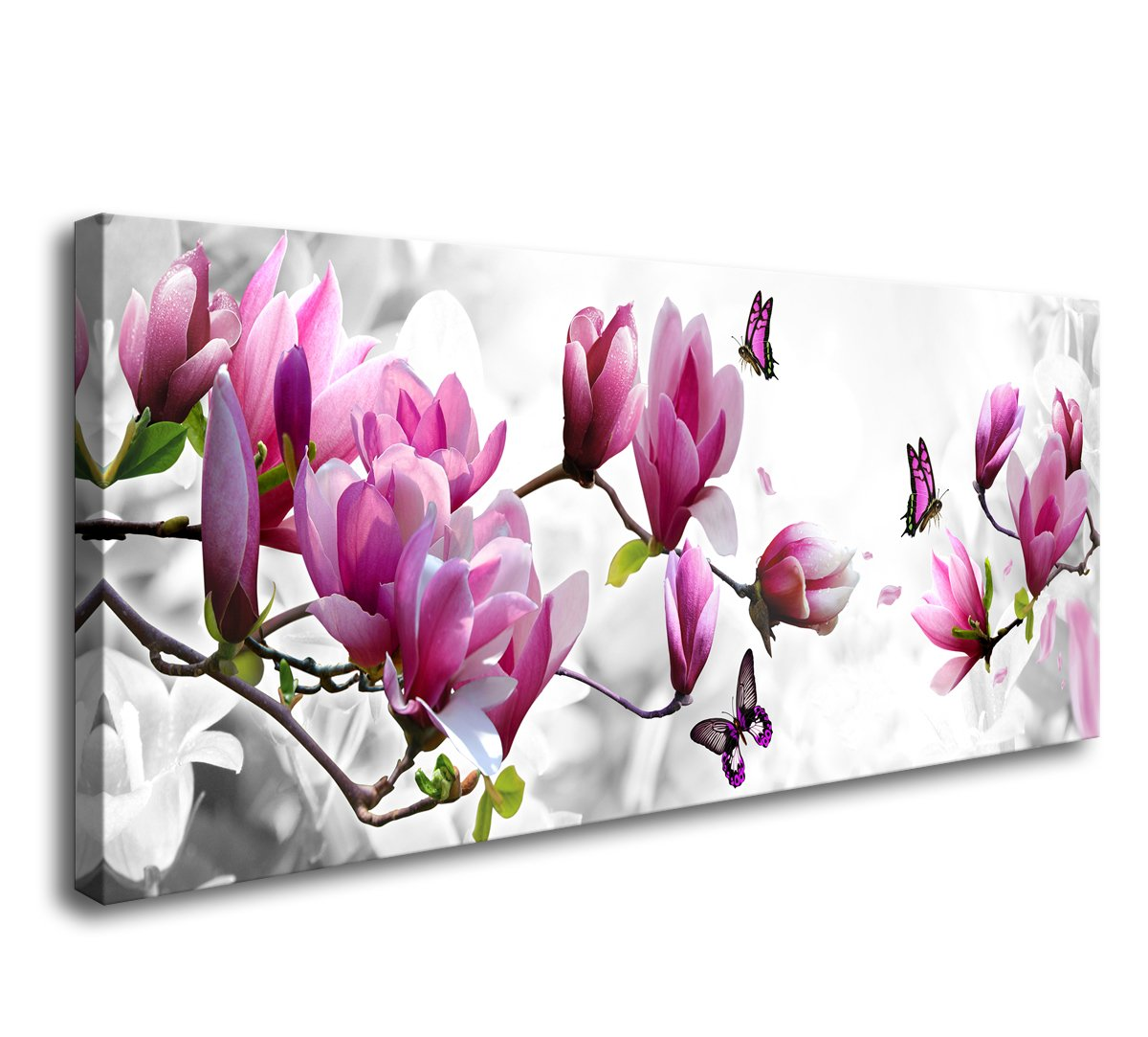 AH40550 Wall Art Framed Canvas Prints Pink Flower and Butterfly Stretched and Framed Canvas Paintings Ready to Hang for Home Decorations Wall Decor by Cao Gen Decor Art