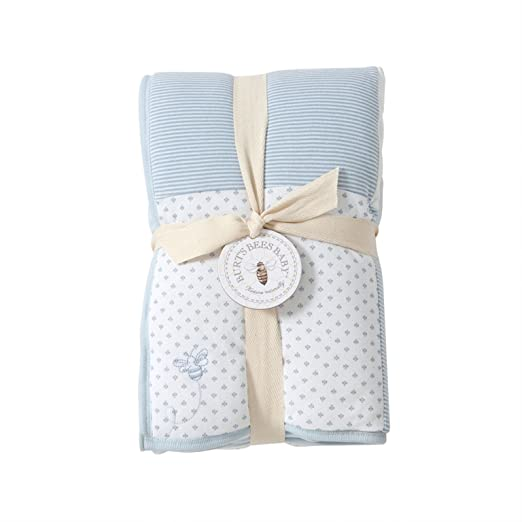 Burt's Bees Baby - Dottie Bee Reversible Quilt, 100% Organic and 100% Polyester Fill (Sky)