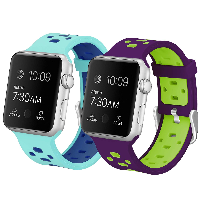 【大特価!!】 バンドfor + Apple Watch Nike、Skylet 2パック38 mm/ edition 42 mmシリコン通気性交換リストバンドfor Apple Watchシリーズ2シリーズ1シリーズ3 edition Nike + ( Smart Watch Not Included ) B0774TL8M8 2PC: Teal-Blue&Purple-Green 38mm 38mm 2PC: Teal-Blue&Purple-Green, 音威子府村:73093001 --- obara-daijiro.com