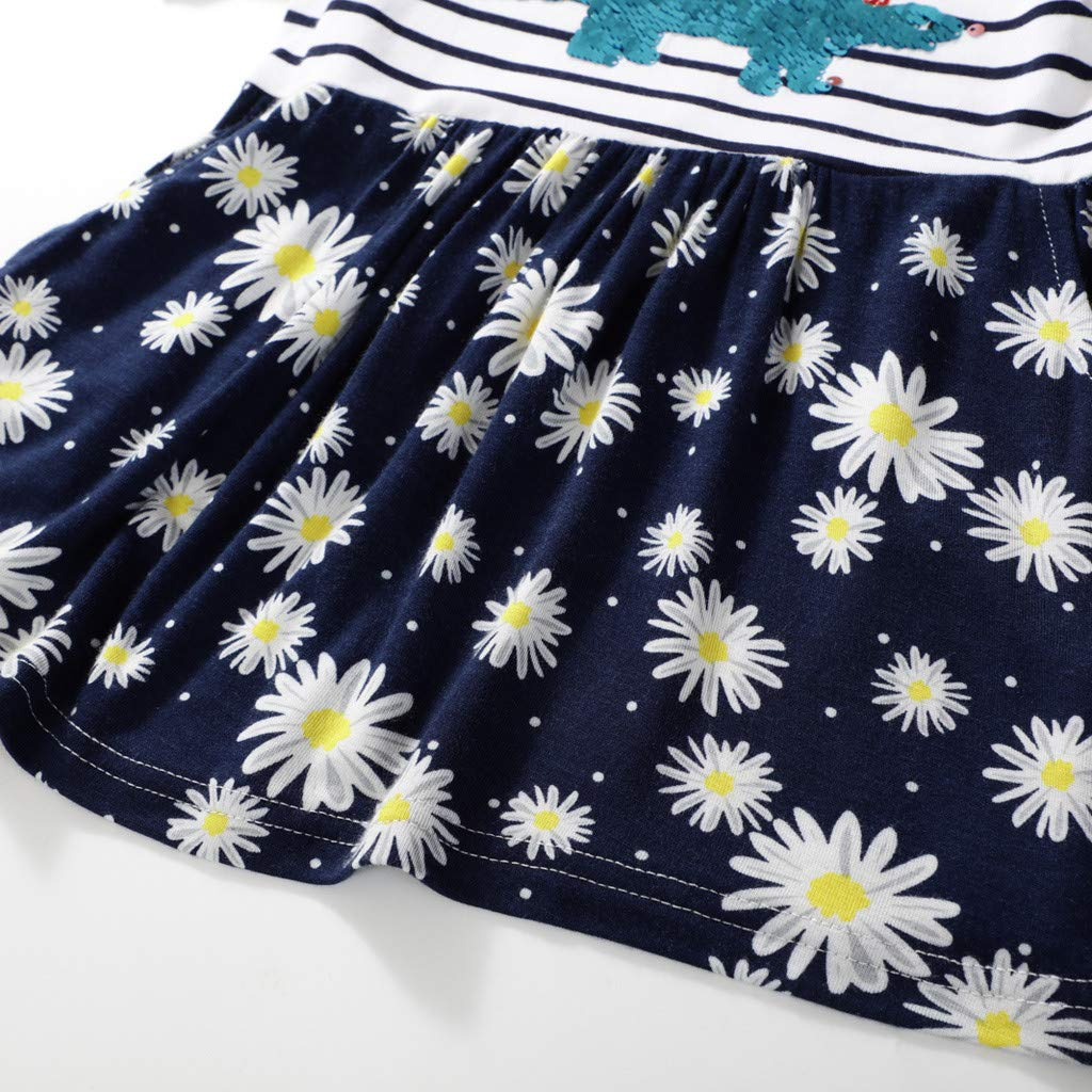 Toddler Kid Baby Girl Striped Floral Dinosaur Bling Printed Casual Short-Sleeve Dress ToP Playwear Set (2Y-7Y)