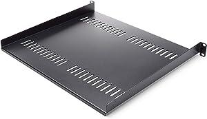 "StarTech.com 1U Vented Server Rack Cabinet Shelf - 16in Deep Fixed Cantilever Tray - Rackmount Shelf for 19"" AV/Data/Network Equipment Enclosure with Cage Nuts & Screws - 44lbs capacity (CABSHELF116V)"