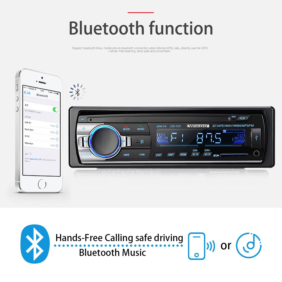 Digital Car Stereo - Wikoo Single-Din Bluetooth Car Stereo In Dash with Remote Control - Receivers USB/SD/Audio - MP3 Player/FM Radio, Supports Hands Free Calling by Wikoo (Image #2)