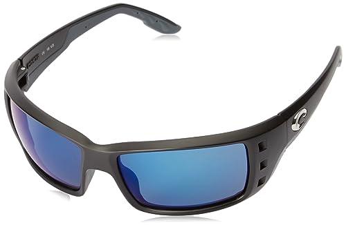 da29fd6ebd Amazon.com  Costa Del Mar Permit Sunglasses Matte Black Blue Mirror  580Plastic  Clothing